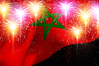モロッコ 花火  国旗 背景