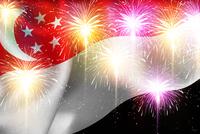 シンガポール 花火  国旗 背景