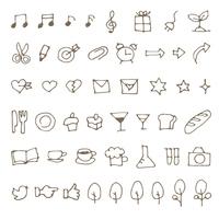 シンプル手描き食べ物、文具、音符イラスト