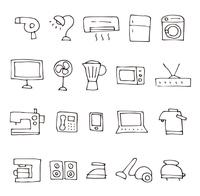 手描きの家電スケッチアイコンセット
