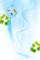 金魚 川 暑中見舞い 背景