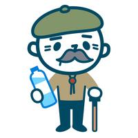 水を持ったシニア男性