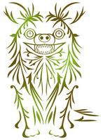 唐草模様で描いたチワワ