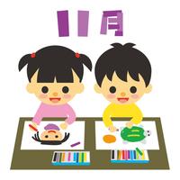 子供と行事 11月 お絵描き