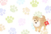 犬 年賀状 和紙 背景