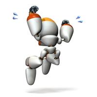 感動でジャンプするキュートなロボット