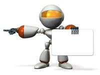 左を指差すキュートなロボット