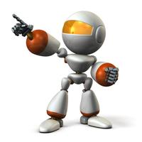 目標を指差すキュートなロボット