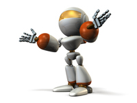 自己紹介するキュートなロボット