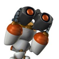 双眼鏡で先を見通すキュートなロボット
