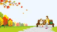 秋の公園 ママと娘 ピクニック