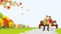 秋の公園 カップル ベンチ