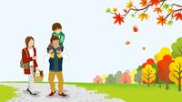 秋の公園を散歩する家族 肩車