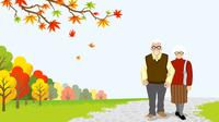秋 散歩するシニアカップル