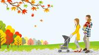 秋 散歩する家族 ベビーカー