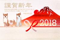 犬 年賀状 富士山 背景