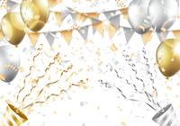 金色 銀色 風船 クラッカー 紙吹雪 旗