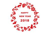 2018年 縁起物の年賀状イラスト