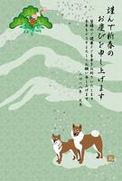 二匹の柴犬の和風縦型年賀状テンプレート