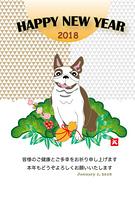 ポップな犬と松竹梅の年賀状テンプレート