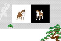 柴犬と松の木のグリーティングカード