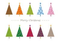 カラフルツリーのクリスマスカード