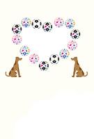 犬とサッカーボールのイラストのハート型写真フレームのポストカード