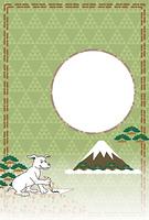 書道で書き初めをする犬の和風イラスト写真フレームのポストカード