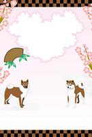柴犬と梅の花のイラスト写真フレームのポストカード