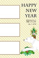 白い犬と門松のイラスト写真フレーム年賀状テンプレート 戌年