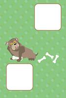 ポップな犬とほねのイラスト写真フレームのポストカード