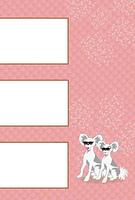 サングラスのおしゃれな犬のイラストのピンクの写真フレームのポストカード