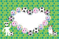 サッカーボールとポップな犬のイラスト写真フレーム 年賀状テンプレート戌年
