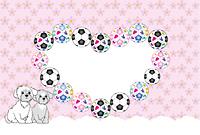 サッカーボールと可愛い犬のイラストのピンクの写真フレーム 年賀状テンプレート戌年