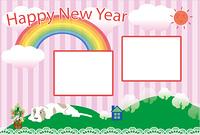 ポップな犬と虹のイラストのピンクの写真フレーム 年賀状テンプレート戌年