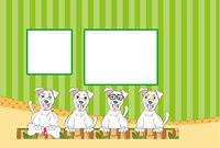 ポップなメガネの犬のイラスト写真フレーム 年賀状テンプレート戌年
