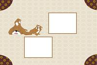 三びきの犬のモダンなイラスト写真フレーム 年賀状テンプレート戌年