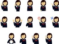 学生 女子 女子高生 高校生 中学生 セーラー服 表情 ジェスチャー セット