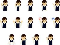 学生 女子 中学生 小学生 子供 表情 ジェスチャー セット