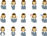 OL 働く人 新入社員 女性 表情 ジェスチャー セット
