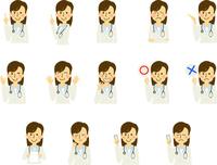 医者 女医 ドクター 働く人 女性 表情 ジェスチャー セット