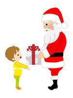 クリスマスプレゼントを手渡すサンタクロース 男の子