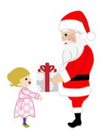 クリスマスプレゼントを手渡すサンタクロース 女の子