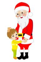 サンタに抱きつく男の子