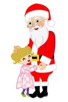 サンタに抱きつく女の子