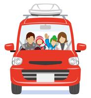 車に乗る家族 冬 正面