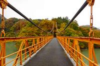 紅葉が身頃の薗原湖に掛かる吊橋
