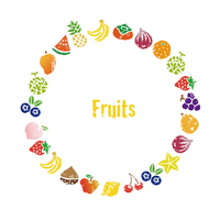 いろいろな果物のリース、円形フレームデザイ