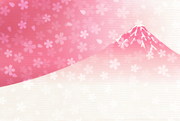 富士山 年賀状 桜 背景