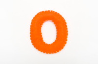 Orange color felt numeral 0